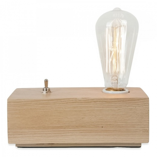 Edison Vintage Style Wood Black Edison Table Lamp - Naturlig