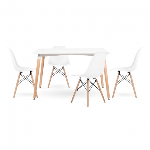 Cult Living Edelweiss and DSW Dining Set - 1 Table & 4 Chairs - Rectangle