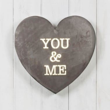 Classic Metall Hjärta Light Box - You & Me