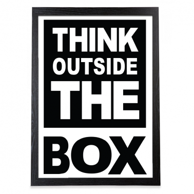 Think Outside The Box Typografi Poster – Svart Ram