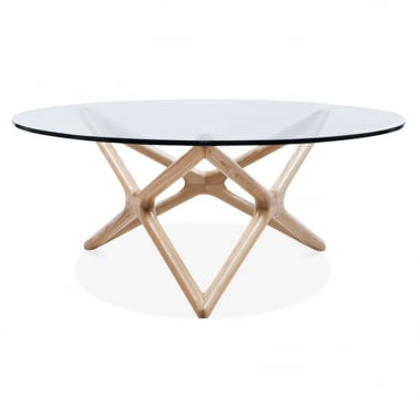 Star Glass Top Coffee Table - Naturlig Trä 100cm