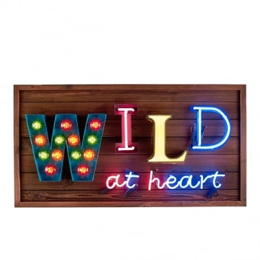Wild at Heart LED Lampa Skylt