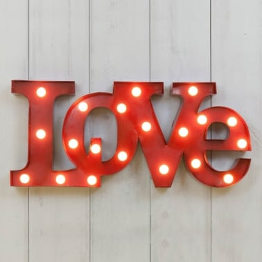 Metall LED Cirkuslampa LOVE – Röd