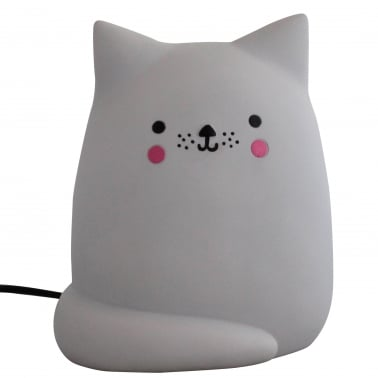 Kawaii LED Katt Bordslampa, Ljusgrå
