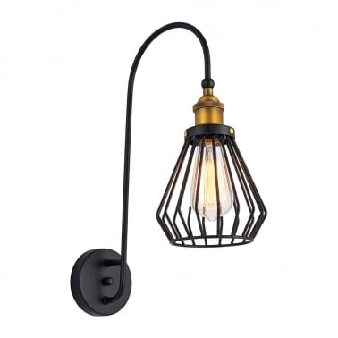Gaston Industriell Metall Burlampa, Svart