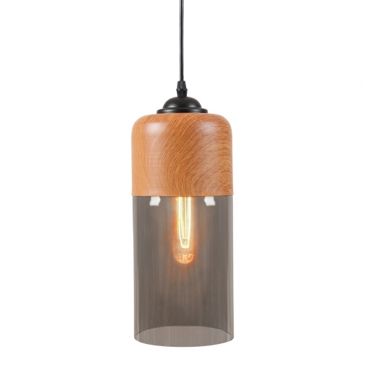 Cult Living Enya Cylinder Glass Pendant Light - Wood Effect / Black