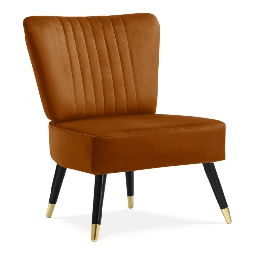 Cult Living Abigail Wingback Loungefåtölj, Sammet, Orange