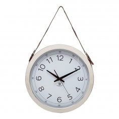 Kingsley Wall Clock with Leather Hanging Strap, Black