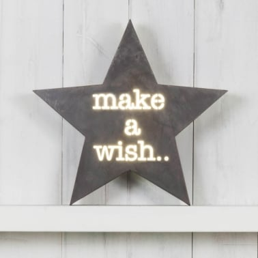 Classic Stjärna Metall Light Box - Make A Wish
