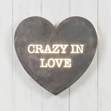 Classic Metal Hjärta Light Box - Crazy In Love
