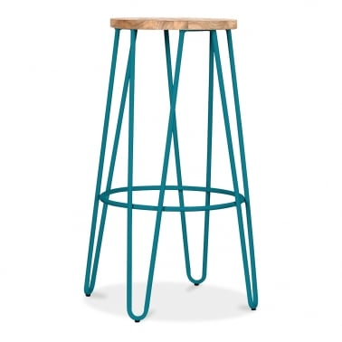 Hairpin Pall Med Naturlig Trä Sits - Teal 76cm