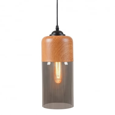 Enya Cylinder Glass Pendant Light - Wood Effect / Black