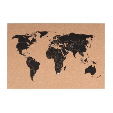 World Map Wall Cork Board With Pins