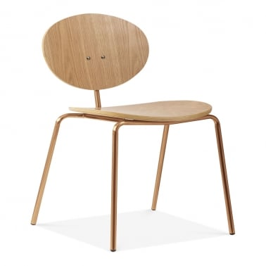 Roma Metal Dining Chair, Natural Oak Wood, Brass