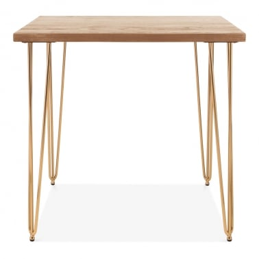 Hairpin Rectangular Dining Table, Solid Elm Wood Top, Mässing 82cm