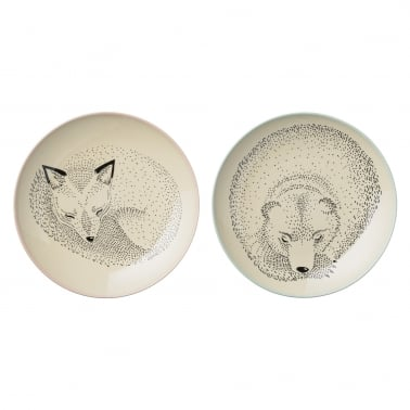 Sleeping Woodland Animals Set of 2 Ceramic Dinner Plates
