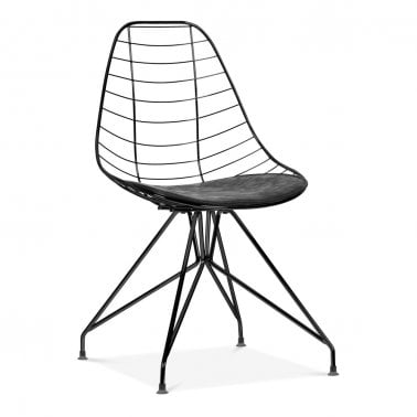 Moda Wire Metal Dining Chair CD6, Svart