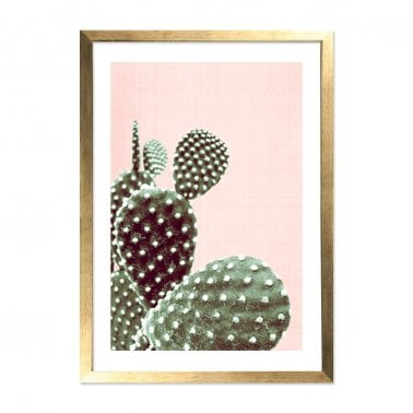 California Cactus Print Inramad Affisch, Rosa A2